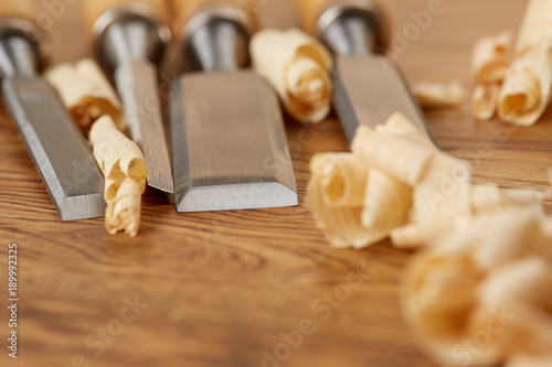 Foto op Plexiglas Trappen DIY concept. Woodworking and crafts tools. Carpentry hand tools. Planers, chisels, measuring tools. Wooden background.