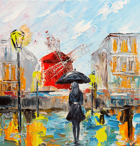oil painting, woman with an umbrella near the Moulin Rouge, a walk in Paris, artwork on canvas © Fresh Stock