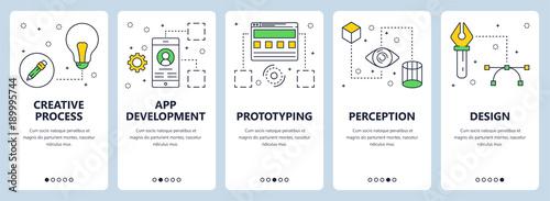 Vector modern thin line creative process concept web banner set