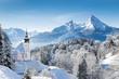 Leinwandbild Motiv Church of Maria Gern with Watzmann mountain in winter, Berchtesgadener Land, Bavaria, Germany