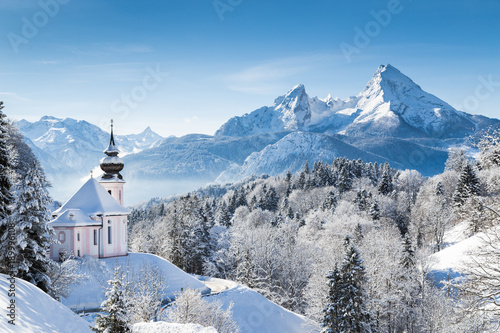 Church of Maria Gern with Watzmann mountain in winter, Berchtesgadener Land, Bavaria, Germany © JFL Photography