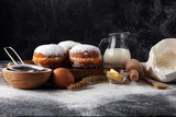german donuts or berliner with ingredient on grey background - 189997799