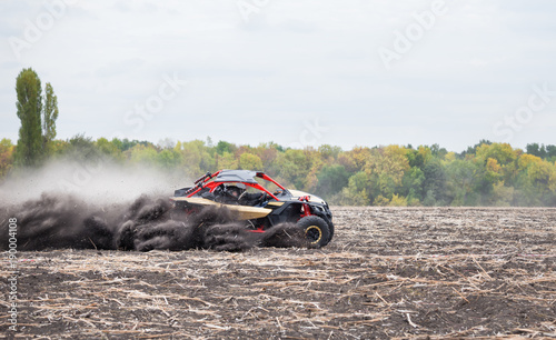 Foto op Aluminium Donkergrijs Quad bike quickly rides in the dust clubs across the field