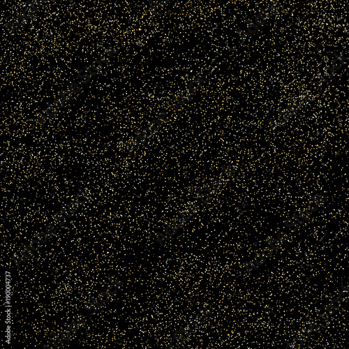 Gold glitter powder splash vector background. Golden scattered dust. Magic mist glowing. Stylish fashion black backdrop.