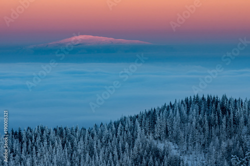 Foto op Plexiglas Ochtendgloren Winter sunrise mountain panorama - Babia Gora over clouds