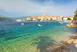 old town of Korcula with crystal clear adriatic sea, Dalmatia, Croatia - 190006502
