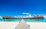 Maldives water bungalow on ocean water landscape - 190008121