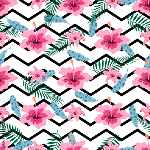 pattern with pink flowers