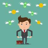 Businessman has no money. Vector illustration. - 190014799