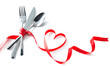 Valentine fork, knife, spoon, silverware with red ribbon heart shape - 190016101
