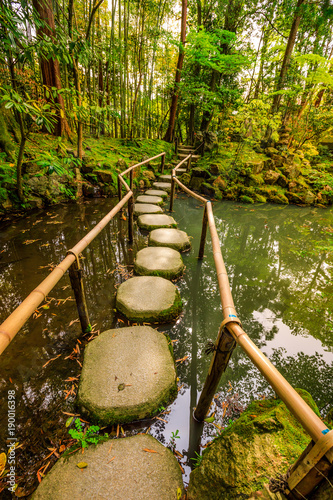 Aluminium Kyoto Stepping stones in Tenjuan garden at Nanzen-ji, a Zen Buddhist Temple in Higashiyama District, Kyoto, Japan. Vertical shot.