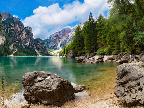 Fotobehang Praag Pragser Wildsee, Dolomiten, Südtirol