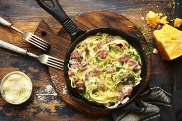 Traditional italian dish spaghetti carbonara with bacon in a cream sauce.Top view with copy space.