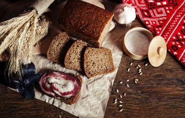 Fresh sliced bread on table close-up, 7 grain bread