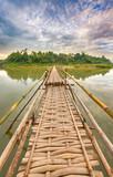 Beautiful view of a bamboo bridge. Laos landscape.
