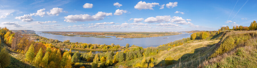 Landscape of Oka river in the Nizhny Novgorod region, Russia