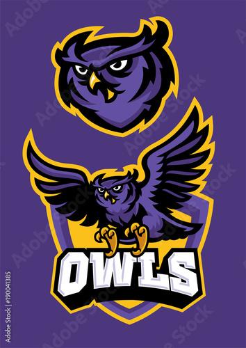 Aluminium Uilen cartoon sport mascot style of owl in set