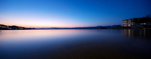 beautiful scene of lake at sunset