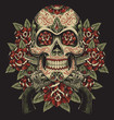 Skull and Roses with Revolvers Tattoo Illustration