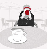 a young girl with a black coffee in a cafe. trendy, modern girl drinking black coffee at an outdoor cafe. modern, colored illustration for design of cafes, bars