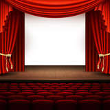 Stage with red curtain. EPS 10 vector - 190045591