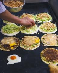 Street Food Taiwanese food Fried Pancake Food vendor chef cooking