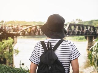 Traveler woman Bridge view Landscape Wanderlust Adventure travel explore