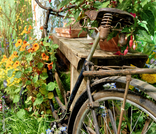 Foto op Canvas Fiets Old rusty and no longer functional fencing wheel in a garden with flowering flowers