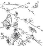 Butterflies Cherry Peach Blossom Flowers  - 190054187