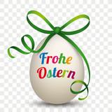 Frohe Ostern Osterei mit grünem Band - 190055191
