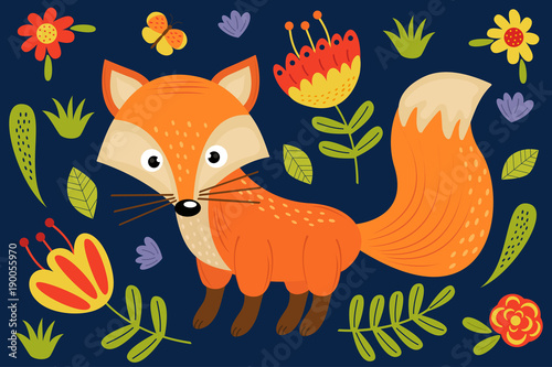 Fotobehang Zoo cute fox and plants - vector illustration, eps