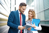 Business people are discussing about project - 190056187