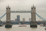 London / UK - November 18 2017: Editorial Tower Bridge with Thames river for boat in cloudy day