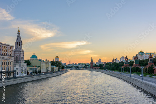 Fotobehang Schip Summer evening in Moscow. Moscow river. Russia.