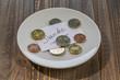 Leinwanddruck Bild - plate with coins
