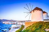 Mykonos, windmill in Greek Islands, Greece - 190060573