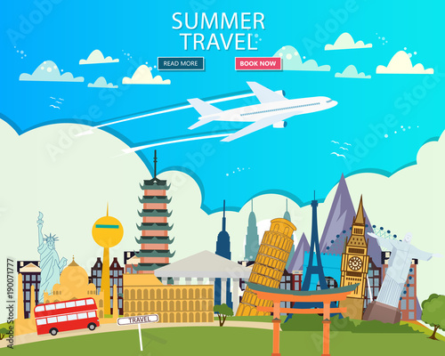 Papiers peints Turquoise Travel to World. Vacation. Trip to World. Tourism. Travel banner. Travelling illustration. Colorful modern flat design. EPS 10.