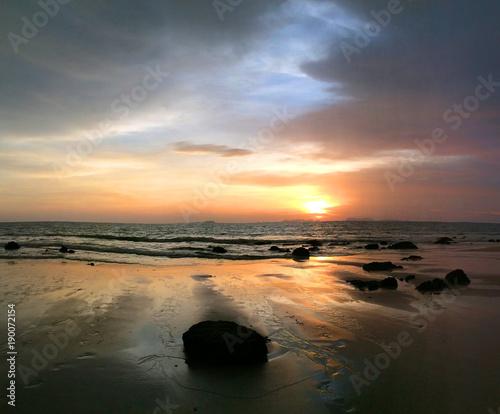 Fotobehang Thailand Incoming Storm and Churning Waves on Koh Lanta