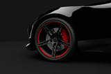 Schwarzer Sportwagen auf schwarzen Hintergrund 3D Illustration - 190072987