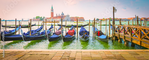 Venice, Italy, Europe. Panoramic view of moored gondolas.