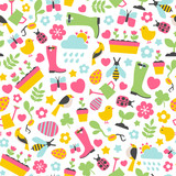 Seamless pattern with spring design elements on white background