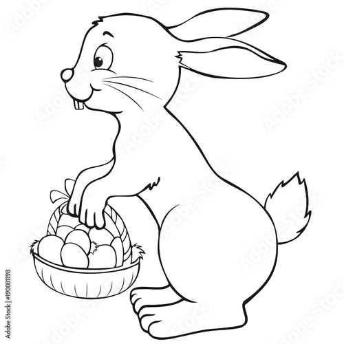 Easter Bunny With Basket Coloring Page