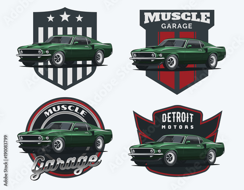 Set Of Classic Muscle Car Emblems And Badges Buy Photos Ap
