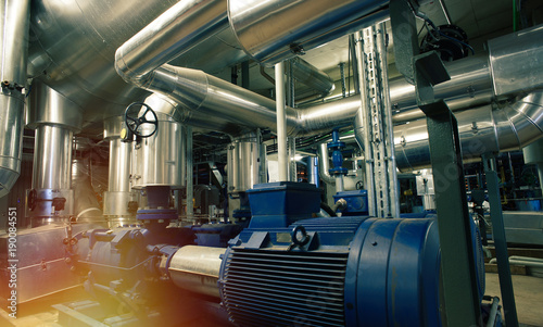 Industrial Steel pipelines, valves, cables and pumps