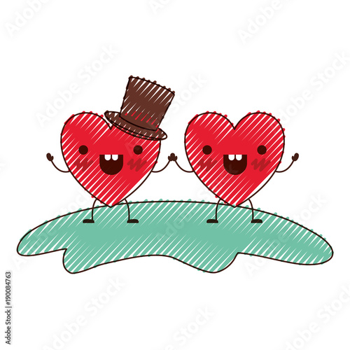 couple heart character kawaii holding hands and him with top hat in cheerful expression in colored crayon silhouette vector illustration - 190084763