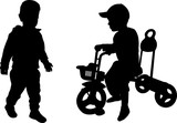 silhouettes of two toddlers - vector