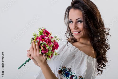 Beautiful Young Brunette Woman Posing Boquet Flowers Studio White Wall