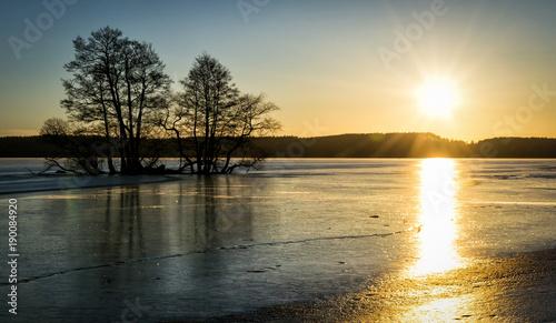 Aluminium Stockholm Winter sunset over Malaren fjord
