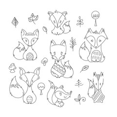 Set of cute doodle foxes in simple flat style
