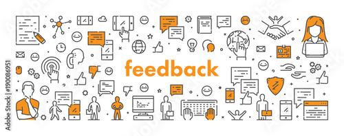 Vector line web banner for feedback